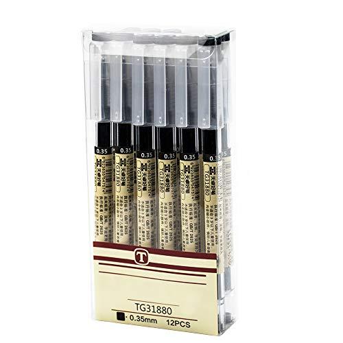 12 bolígrafos de tinta de gel negro de 0,35 mm, AUHOTA extra fino, punta de secado rápido para oficina escuela papelería suministros