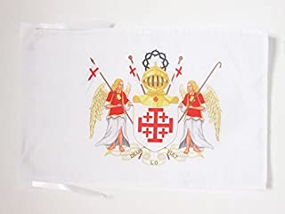 AZ FLAG Bandera del Orden DE CABALLERÍA del Santo SEPULCRO DE JERUSALÉN 45x30cm - BANDERINA Cristiana 30 x 45 cm cordeles