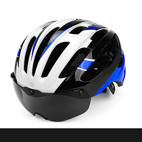 HKRSTSXJ Seguridad en la montaña de los Hombres y Mujeres de Bicicletas Ciclismo Cascos Una magnético Vasos la Bici del Camino del Casco de la Comodidad Respirable del Casco (Color : Azul)
