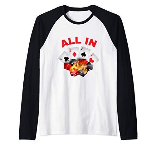 All In - Carte Poker - Joueur Table Casino - Amoureux Jeu Manche Raglan