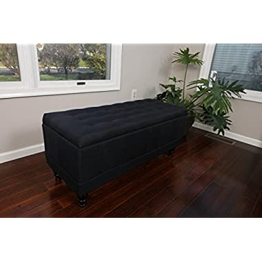 LIFE Home Home Life Lift Top Storage Bench with Tufted Accents Charcoal Black Linen Fabric with Wooden Legs
