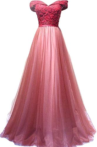 Kaiyanaat Tulle Girls Womens Strapless Long Dress with Lace appliqués for Prom Evening Birthday Party