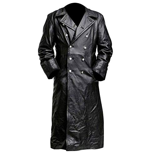 German Classic Officer WW2 Military Uniform Black Leather Trench Coat (XL)