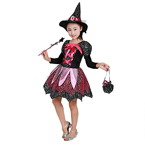 Julhold Disfraz de Halloween para nias de bruja de bruja para cosplay, disfraz de fiesta (rojo (vestido + sombrero + varita mgica + bolsa de caramelos), 12 a 13 aos)