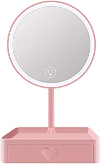 Makeup Mirror Tabletop LED Vanity Mirror Detachable 5X Magnification Touch Screen 3 Brightness USB Lighted Mirror with Storage Drawer