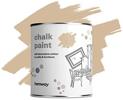 Hemway Kreidefarbe, matt, Shabby-Chic-Stil, 1 l, sandbeige, geeignet für Innenmöbel, Kleiderschränke, Regale, Tische und Stühle, schnelltrocknend, Kreide-Finish, glatte Oberfläche