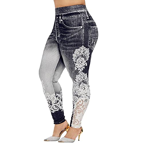 Aniywn Womens Lace Leggings Skinny Pencil Jeans Ankle Length Leggings Tights Yoga Slim Long Pants Black