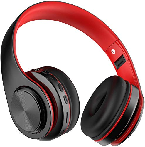 Auriculares Bluetooth Inalambricos de Diadema, Casco Diadema Bluetooth 5.0 Plegables con HiFi Sonido Estéreo, Micrófono Incorporado, Admite Tarjeta TF, FM, para Móvil, PC, TV, Tableta(Rojo)
