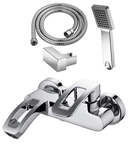 GRIFERIAS Borrás Serie LAX – eengreepsmengkraan voor badkamer en douche LAX0483C – set met douche, wandhouder en handleiding, chroom – installatie badkamer