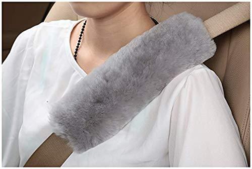Diagtree 2 PCS Authentic Sheepskin Auto Seat Belt Cover Shoulder Seatbelt Pad...