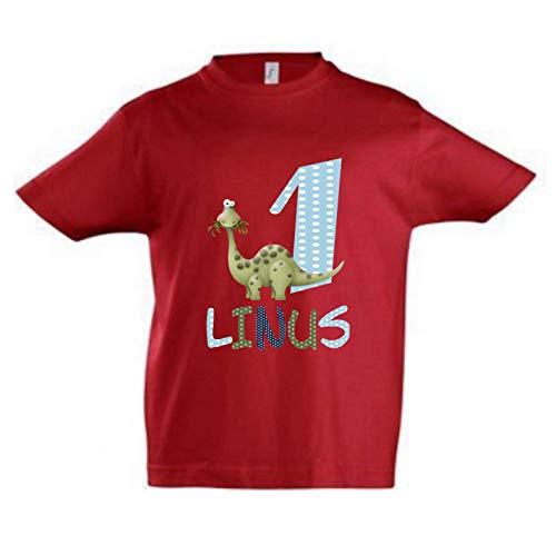 wolga-kreativ T-Shirt Geburtstag Junge ich Bin Schon 1 2 3 4 5 6 7 8 9 Jahre mit Namen Dino Dinosaurier Geburtstagsshirt personalisiert Kindergeburtstag Geschenk Kinder