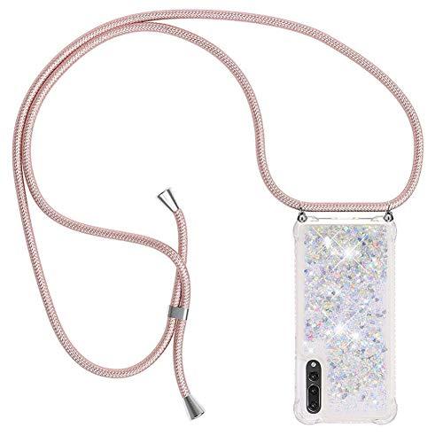Ptny Case Funda Colgante movil con Cuerda para Colgar Huawei P20 Pro Carcasa Correa Transparente de TPU con Cordon para Llevar en el Cuello con Ajustable Collar Cadena Cordón en Oro Rosa