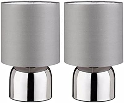 Graceful Flint Grey ColourMatch Pair of Touch Table Lamps