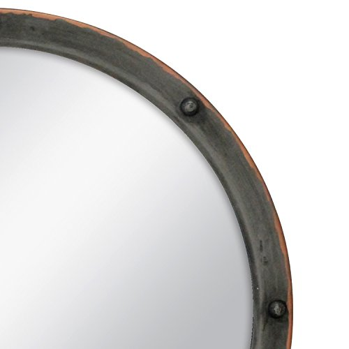Stonebriar Round Rustic Bronze Metal Mirror with Rivet Detail & Hanging Ring for Wall, Industrial Home Décor