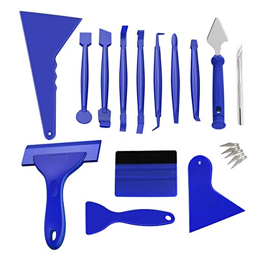 DKIIGAME 14 Pcs Car Vinyl Wrap Tool Kit,Automotive Sun Protection Window Tinting Kits for Vehicle Glass Protective Film Window Wrapping Tint Installing