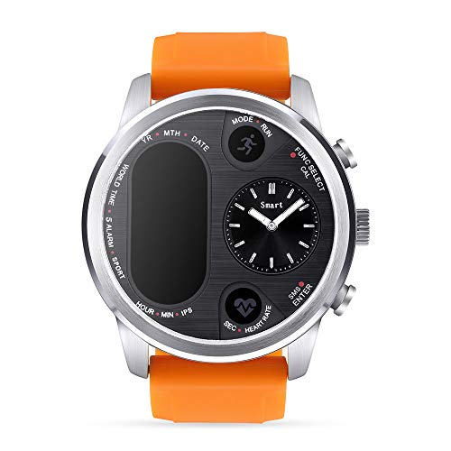 MiFRee Dual time IPS Smart Watch Mens Heart Rate Monitor Blood Pressure Monitor Bluetooth 4.0 Waterproof IP68 iOS Android Sports Outdoor Watch for Men (Orange)