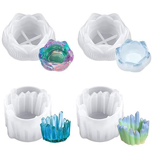 4 moldes de resina de loto, moldes de resina epoxi con forma...