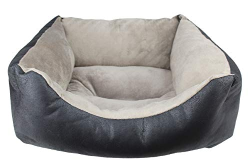 Desconocido Cama para Perro, Cuna para Mascotas de tapicería y coralina (Pequeño(52x42x20), Negro)