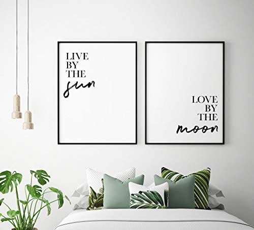 Wood Framed Sign 8x12'' Wooden Prints Printable Live by The Sun Love by The Moon Printable Art Set of 2 Sun and Moon Prints Bedroom Decor Bedroom Wall Art Wood Signs for Home Decor Quotes