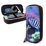 Estuche de lápices de cuero marino de color marino para peces de acuario, bolsa de bolígrafo de gran capacidad, organizadores de papelería duraderos