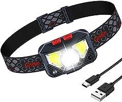 Lampe Frontale, Gritin Torche Frontale LED USB Rechargeable Puissante, Super Lumineux 500 LM, 8 Modes d'éclairage,...