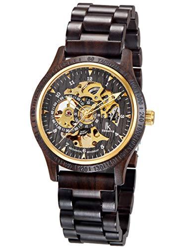 Alienwork Automatikuhr Armbanduhr Herren schwarz Holz-Armband Gold Skelett Holzuhr