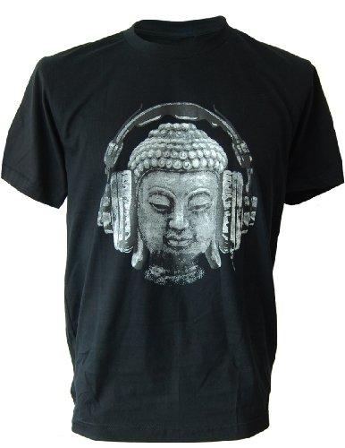SODAtees DJ Buddha Headphones Music Men's T-Shirt goa Club - Black - X-Large