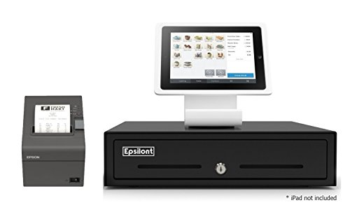 SQUARE POS REGISTER HARDWARE KIT- Stand for iPad 10.2 & 10.5, USB Direct Thermal Printer and Epsilont Cash Drawer (Black)