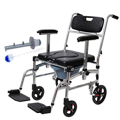 bxl Dusche Kommode Stuhl Gerollt Extra Breit Toilettenstuhl Mit Dem Pedal Schemel Mit Eimer Und Gepolstert Sitz Leicht Faltbar Rollstuhl Zum Alten Deaktiviert Behindert
