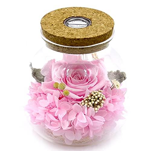 Flores secas Eternal Real Rose en la botella de Deseando la belleza y la bestia Decoración del hogar Navidad Rosa Natale Decorazioni por La Casa (Color : Beige, Size : Real Nature Rose)