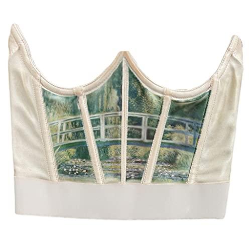 QERMULA Mujeres Vintage Angel Print Corset Faja Deshuesada Cintura Shaper Underbust Bustier Mujeres Corset Deep Green