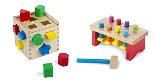 Melissa & Doug Shape Sorting Cube with Melissa & Doug Deluxe Pounding Bench Toy, Classic set for Toddlers