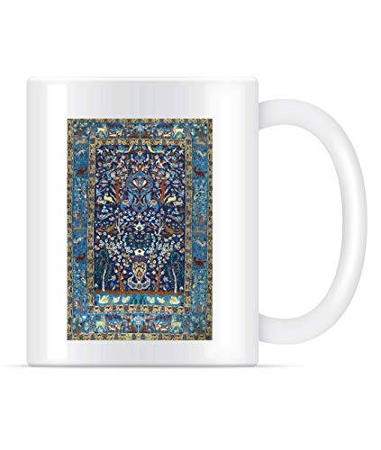 NA Alfombra de Seda Isfahan Persa Antigua Azul con Flores, Animales, Taza...