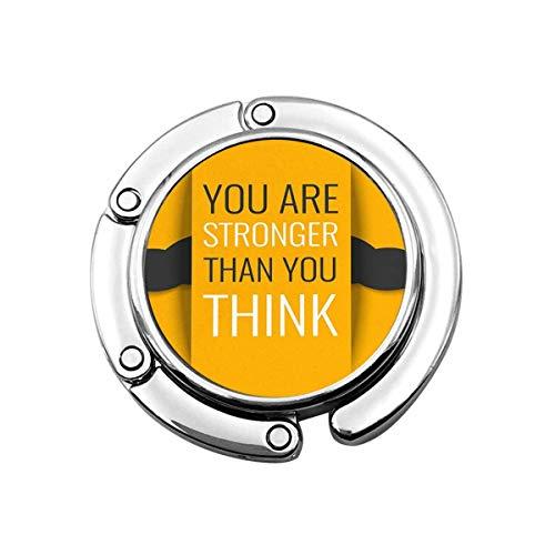 Geldbörse Aufhänger Haken Inspirierendes Zitat Sie sind stärker als Sie Denken, Bizeps Muskel Gelb Handtasche Haken Tischtasche