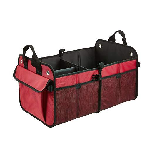Amazon Basics - Organizador de maletero plegable para coches, todocaminos y camiones - Rojo