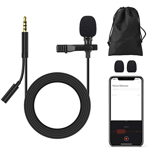"""3.5mm Mini External Microphone 59"""" With Earbuds Jack, Single Head Lapel Microphone..."""