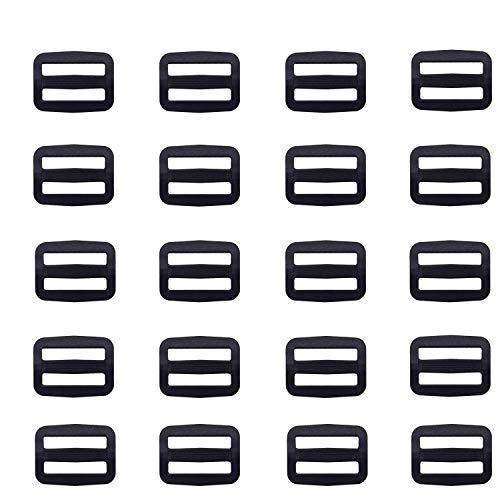 Yosawo 90 Stück Schwarz Kunststoff Leiterschnalle, Rucksack Schnalle,Regulator,Gurtversteller Verstellschieber, Stopper( 25mm / 1') RK