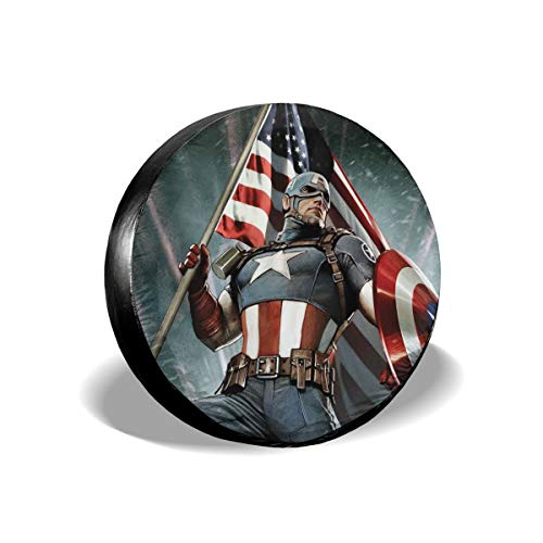 Heavenly Battle Superhero C-aptain A-Merica Spare Tire Covers Universal Tire Cover Dust-Proof Waterproof Wheel Covers for Jeep, Trailer, RV, SUV, Truck and Many Vehicle Wheel Diameter-17 inch