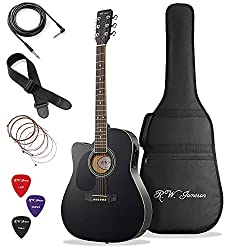 Best Acoustic Electric Guitar under 200 US Dollars - Jameson Guitars Left Handed Black Acoustic Electric Guitar Full Size Thinline