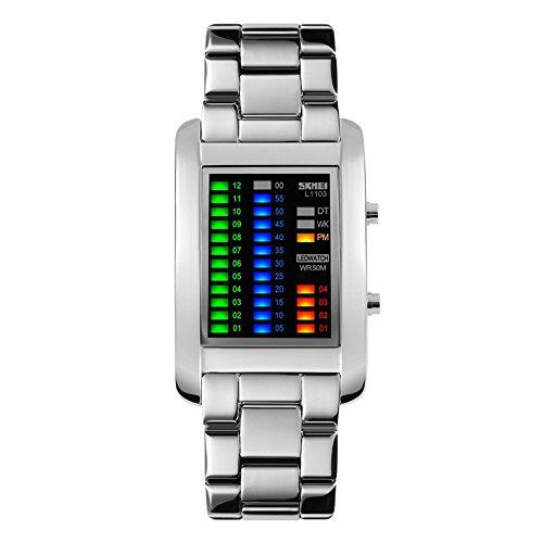 TONSHEN Moda Binario Relojes de Hombre Acero Inoxidable Rectangular Dial 4 Colores LED Luz Diseño Unico Casual Deportes Digitales Relojes de Pulsera Impermeable 50M Resistente Agua (Plateado)