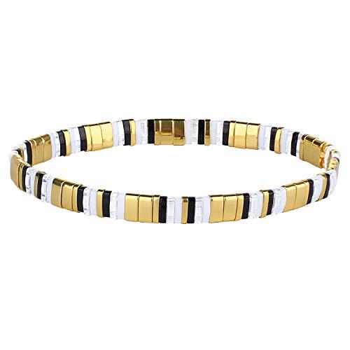 KANYEE Bracelets D'amitié Bracelets Perlés Tila Coloré Bracelets élastique Fait Main pour Femme – 08A