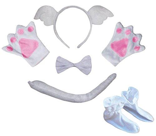 PetiteBelle Engel haarband bowtie staart schoenen kinderen 5 stuks kostuum Eén maat Ange blanc