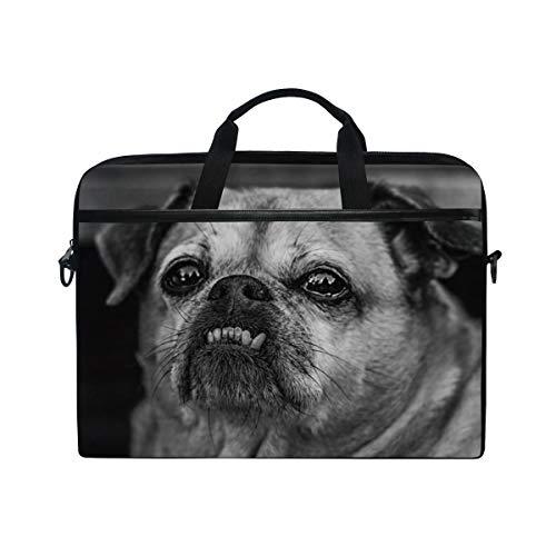 FOURFOOL 15-15.6 inch Laptop Bag,Pug Dog Cute Animal Image Chubby Tear Marks Wrinkles Detailed Art Print,New Canvas Print Pattern Briefcase Laptop Shoulder Messenger Handbag Case Sleeve