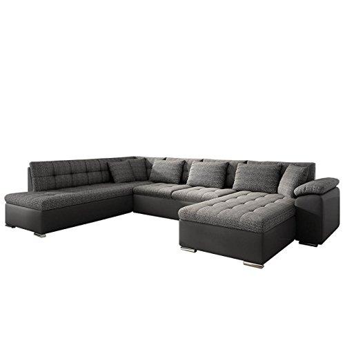 Eckcouch Ecksofa Niko! Design Sofa Couch! mit Schlaffunktion! U-Sofa Große Farbauswahl! Wohnlandschaft! (Ecksofa Rechts, Soft 020 + Majorka 03)