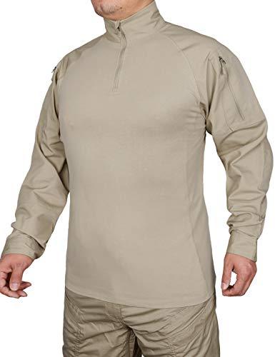HARD LAND Taktisches Hemd Combat Shirt Langarm Slim Fit Militärhemd Tactical Armee Outdoor Kampfshirt mit 1/4 Reißverschluss Khaki XXXL