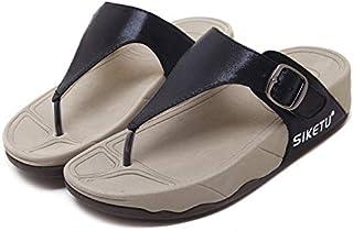 QIMITE Tongs Chaussures Sandales Plates /Plus la Taille 34-46 Nouvelles Sandales en Cuir v/éritable Femmes Chaussures Mode Sandales Plates en Cuir de Vache /ét/é Strass Dames Chaussures Noir