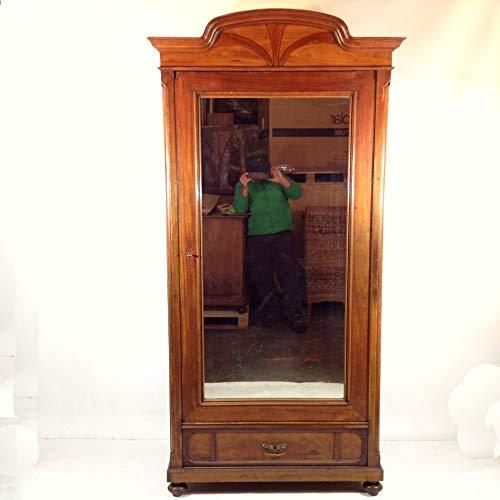 Arabesce Antique Shop Antiker Jugendstil Schrank Mahagoni mit Facette Spiegel und Schublade Fachboden Kleiderschrank Dielenschrank Flur Wohnzimmer Wäscheschrank