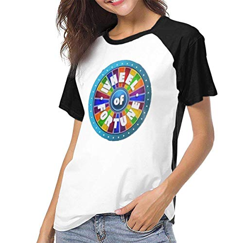Yuanmeiju Mujer Camiseta,Camisa Raglan Baseball T-Shirt Retro-Wheel-of-Fortune-Cool Printed Crew Neck Casual tee Tops y Blusas