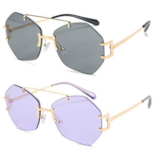 HFSKJ Paquete de 2 Gafas de Sol, Gafas de Sol sin Montura Irregulares, Gafas de Todo fósforo para Mujer, Gafas de Sol de Moda callejera para Adultos,C
