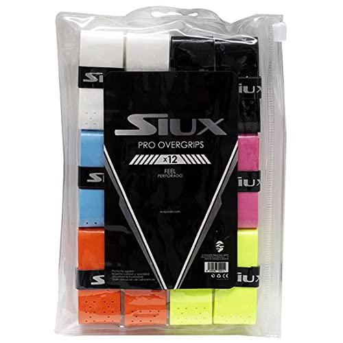 Overgrip Perforado para Palas y Raquetas Padel, Tenis, Packs 12 Overgrips Perforados Multicolor Siux Accesorios empuñadura...
